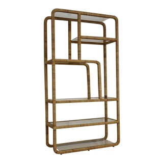 Wrapped Rattan & Glass Etagere