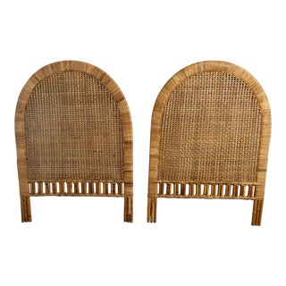 Vintage Mid-Century Arched Cane Rattan Twin Headboards - a Pair
