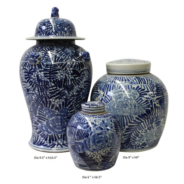 Chinese Set of 3 Blue White Abstract Flower Temple Ginger Jars - Image 5 of 5