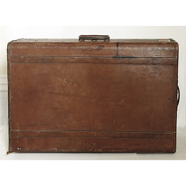 Vintage Worn Leather Suitcase - Image 6 of 8