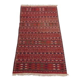 Handwoven Wool Southwest Geometric Stripe Kilim Rug