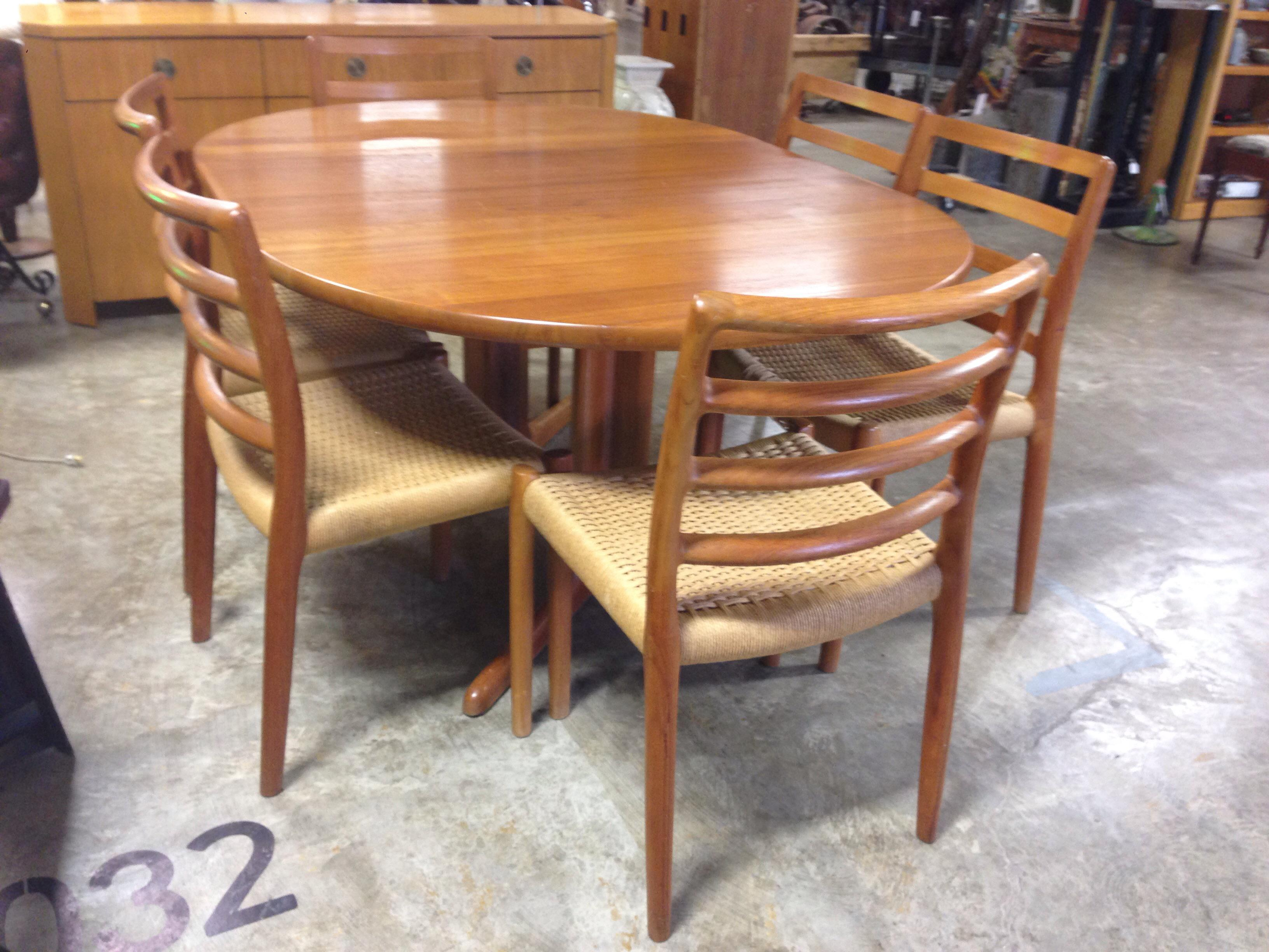 Danish Teak Dining Table 6 Ladder Back Chairs Chairish