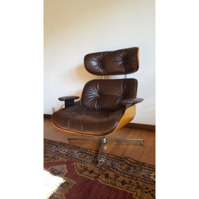 Vintage Herman Miller Eames Era Style Chocolate Selig Plycraft Lounge Chair - Image 3 of 11