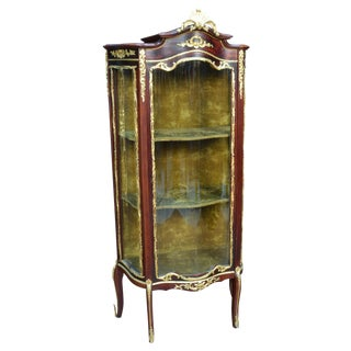 French Mahogany Curio with Gilt Ormolu Trim