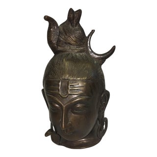 Asian Bronze Head With Cobra Sculpture