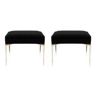 Colette Brass Ottomans in Noir Velvet by Montage, Pair