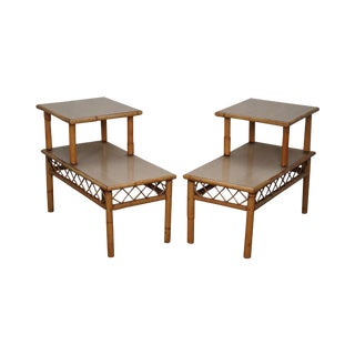 Vintage Rattan Bamboo Step 2 Tier Side Tables - A Pair