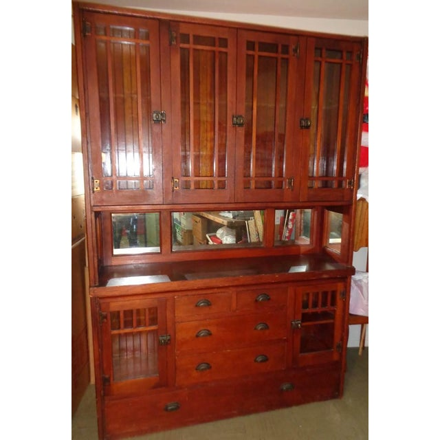 Antique Mission Hutch China Cabinet - Image 3 of 11