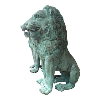 Bronze Lions Sculptures - A Pair