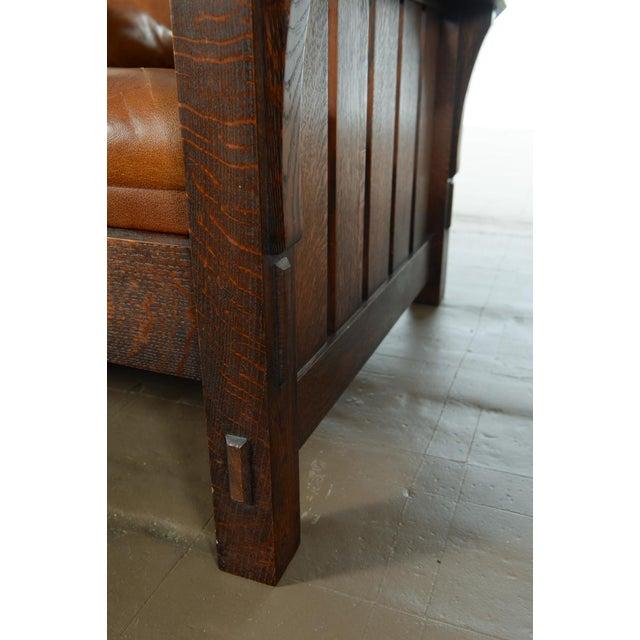 Warren Hile Studio Oak Morris Chair, Brown Leather - Image 4 of 10