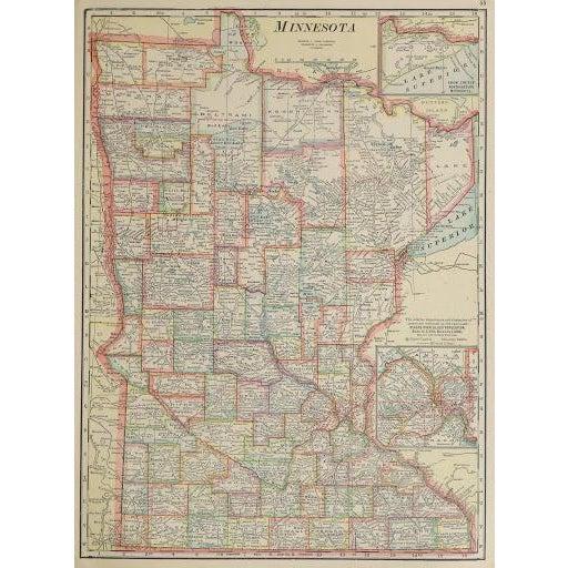 Vintage Map of Minnesota, 1916 - Image 1 of 3