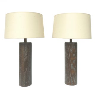 Nessen Studios Brown Cerused Oak Lamps - A Pair