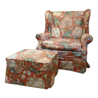 1970s Vintage Floral Chintz Style Wingback Chair & Ottoman
