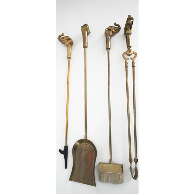 Image of Vintage Solid Brass Elephant Fireplace Tools