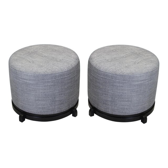 Vintage Mid-Century Gray Ottomans - A Pair - Image 1 of 5