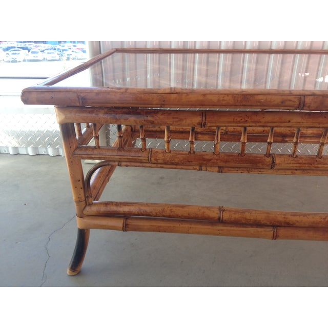 Vintage Glass Top Bamboo Coffee Table - Image 3 of 5