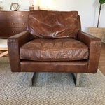 Image of Timothy Oulton Modern Leather Club Chairs - A Pair