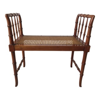 Hollywood Regency Faux Bamboo Bench by Baker