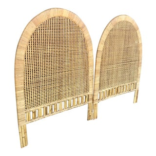 Vintage Rattan Caning Twin Headboards - A Pair