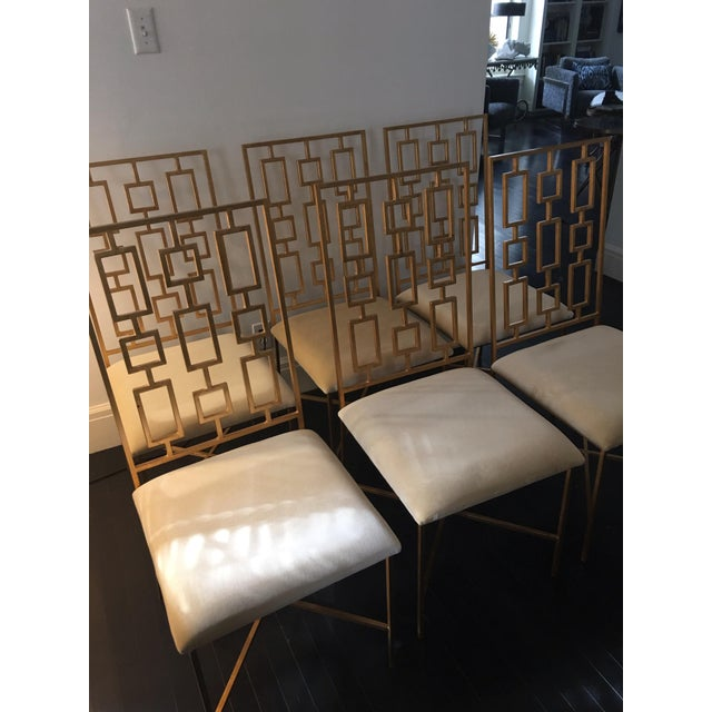 Worlds Away David Gold Iron Chairs - Set of 6 - Image 7 of 11