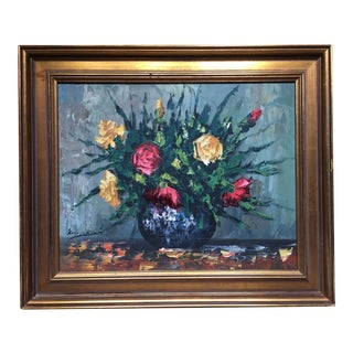 Framed Floral Oil Painting