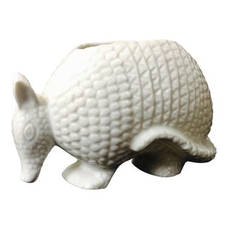 Vintage White Ceramic Armadillo Planter