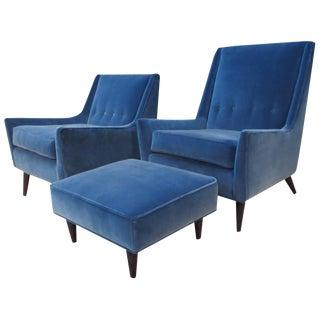 Milo Baughman Chairs & Ottoman Set