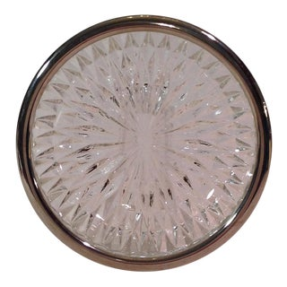 Mid-Century Silver Rimmed Crystal Bowl