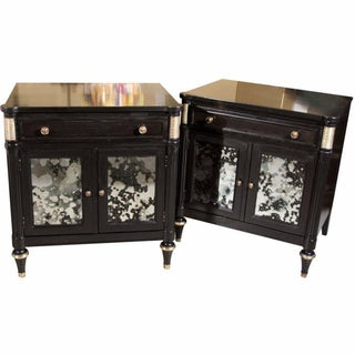 Ebonized & Mirrored Nightstands by Jansen - A Pair