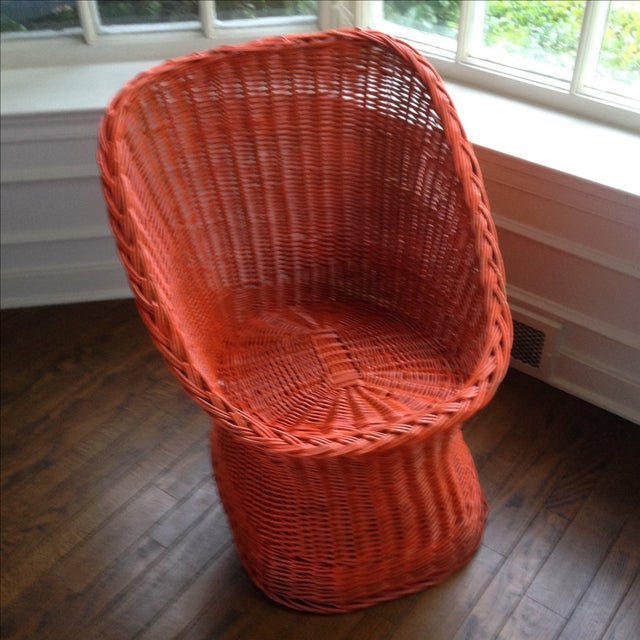 Vintage Bright Orange Wicker Chair - Image 4 of 11