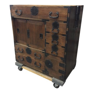 Japanese Kiri Wood Commerce Chest c. Late 1800s