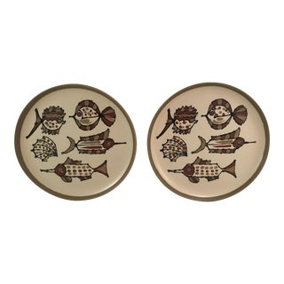 Mid-Century Fish Plates - A Pair
