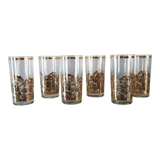Vintage Culver Mushroom Highball Drinking Glasses - Set of 6