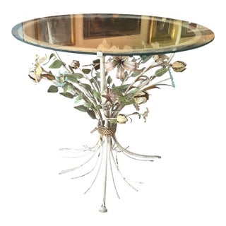 Iron Floral Side Table