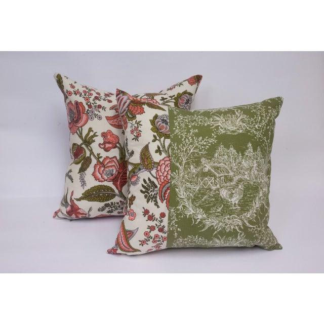 Toile & Vintage Floral Pillows - A Pai - Image 3 of 8