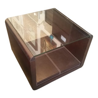 Italian 2000 Modern Dark Wood, Bonded Leather, & Glass Side Table