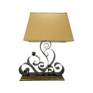 Mid Century/Regency Wrought Iron Scroll Lamp
