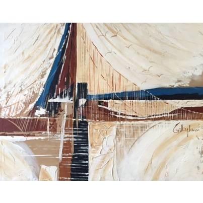 Vintage 1970's Bridge and Seagulls Painting - Image 1 of 4
