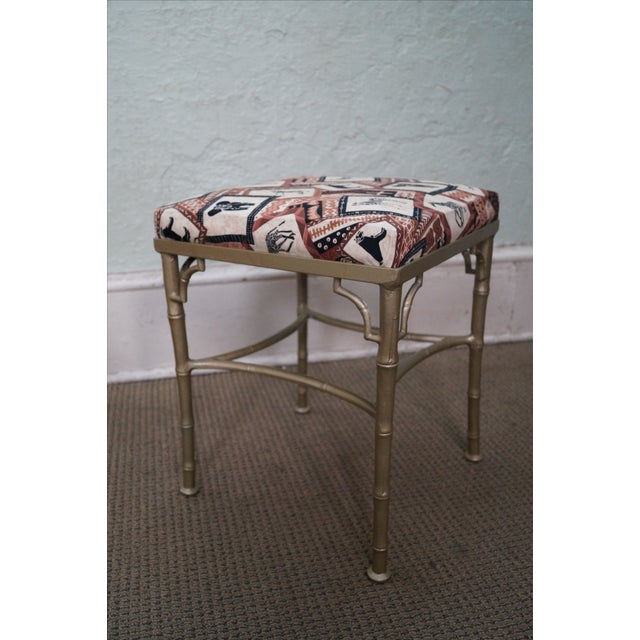 Vintage Faux Bamboo Metal Ottomans - A Pair - Image 9 of 10