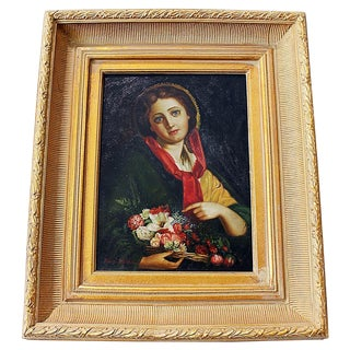 Original Woman's Portrait in Oil on Canvas