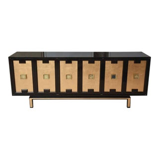 Vintage Lacquered, Gold Leaf and Brass Cabinet/ Buffet