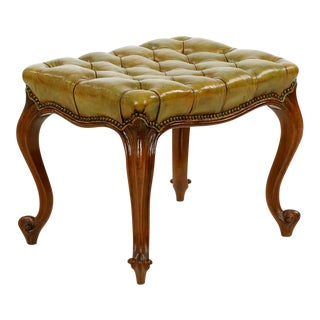 French Rococo Revival Tufted Green Leather Footstool, 20th Century