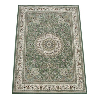 Traditional Medallion Green Rug - 5′3″ × 7′4″