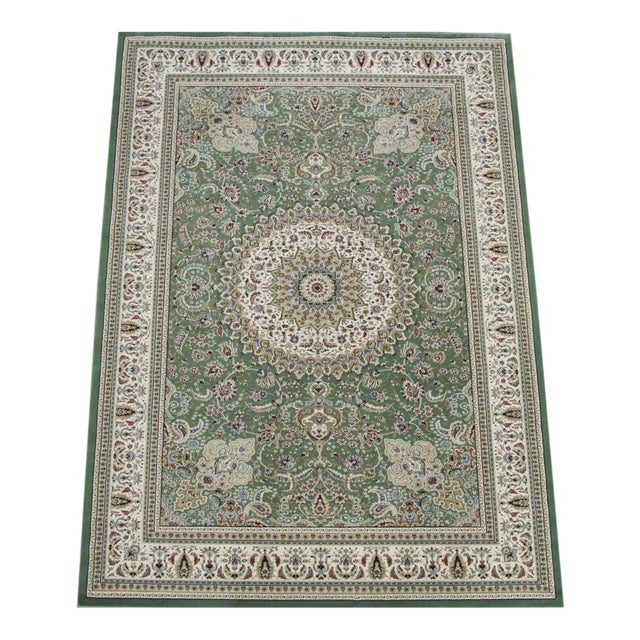 Image of Traditional Medallion Green Rug - 5′3″ × 7′4″