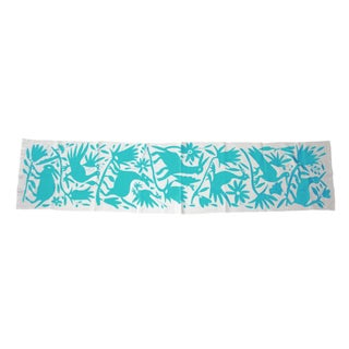 Blue Turquoise Hand-Woven Tenango Table Runner