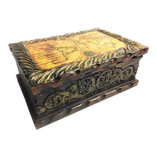 Vintage Mid-Century Hand Carved Wooden Box