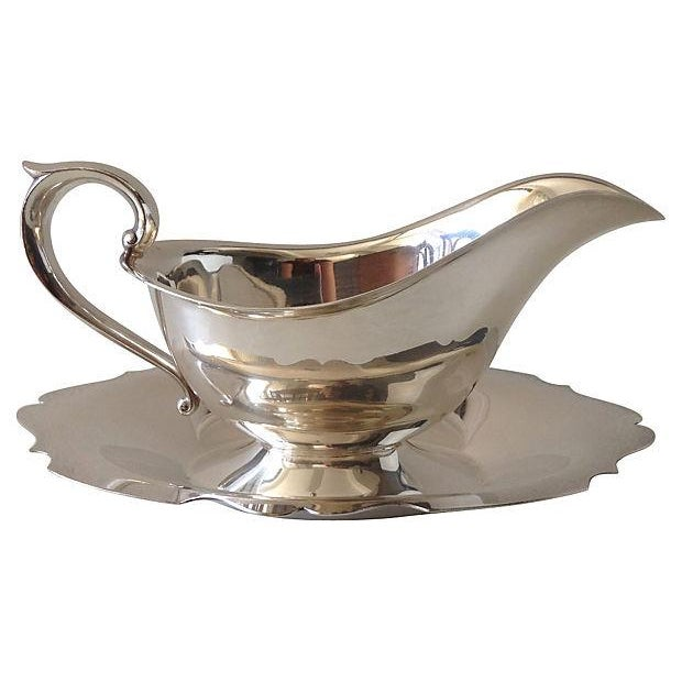 Image of Gorham Silver Gravy Boat W/Attached Underplate