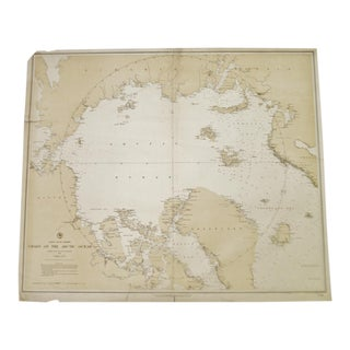Antique 1885 North Polar Regions Chart