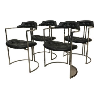 Daystrom Chrome & Naugahyde Dining Chairs - Set of 4