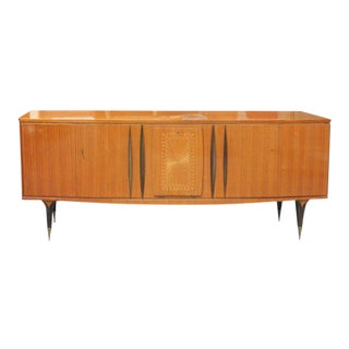 Monumental French Art Deco Sideboard / Buffet Flame Mahogany, circa 1940s